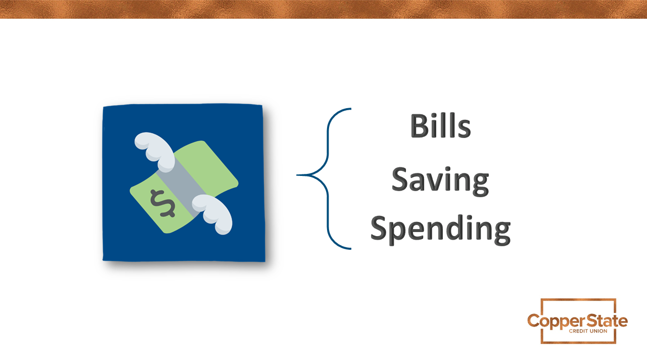 Expenses include bills saving spending